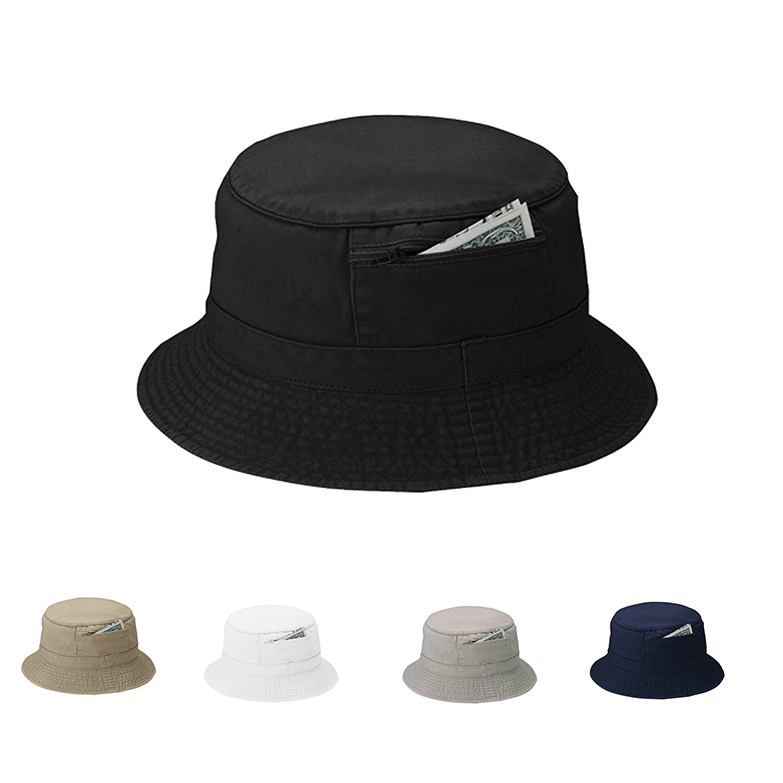 Camo Sloping Brim Bucket Hat With a Zipper Pocket - a2apromo 1f41561c106